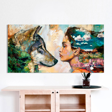 Posters and Prints Wall Art Painting Canvas Animal Figure for Home Decor Wolf Girl Living Room No Frame