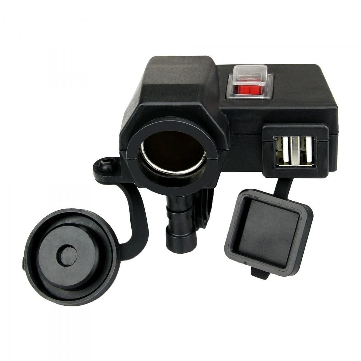 Étanche 5 v/2.1A Dual USB Sortie Moto Guidon support de Chargeur USB Avec DC 12 v Voiture Allume-cigare socket