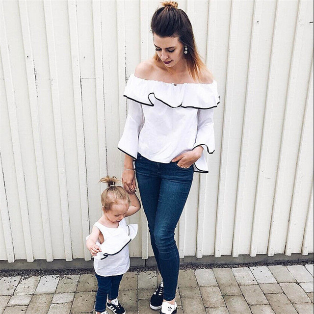 6147d736019 Mom And Daughter White T-shirts 2018 New Family Matching Clothes Bebes  Mother Off Shoulder