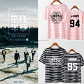 KPOP BTS Bangtan Meninos Verão 2017 versão Coreana do T das mulheres dos homens preto Rosa de Algodão Letras impressas stripe Curto-de mangas compridas T-shirt