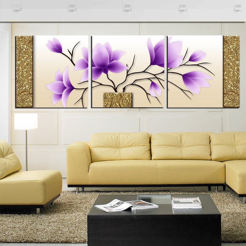 Decoration Wall Pictures for Living Room Modern Purple Flower Canvas ...