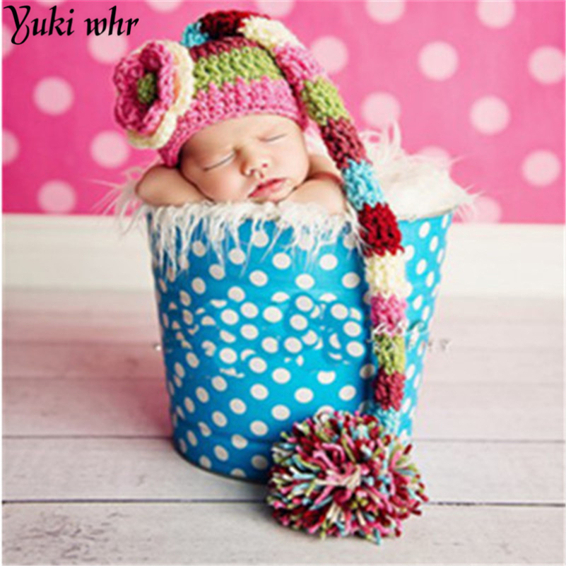 Christmas Design Hat Baby Handmade Beanies Costume Knitted newborn Long Tail Crochet photography props Newborn Hat 0-6months