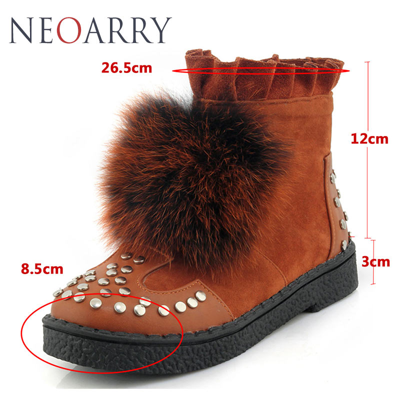 315d4a38cc3 Neoarry Fox Fur Women s Winter Boots Shoes Woman Thick Heel Keep Warm Plus  Size 33 45 Fashion Flock Russia Zapatos Mujer LT63-in Ankle Boots from Shoes  on ...