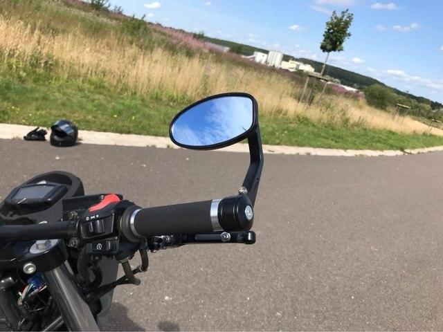 Bar End Spiegels : Motorrad bar end spiegel kleine runde lenker ende schwarz motorrad