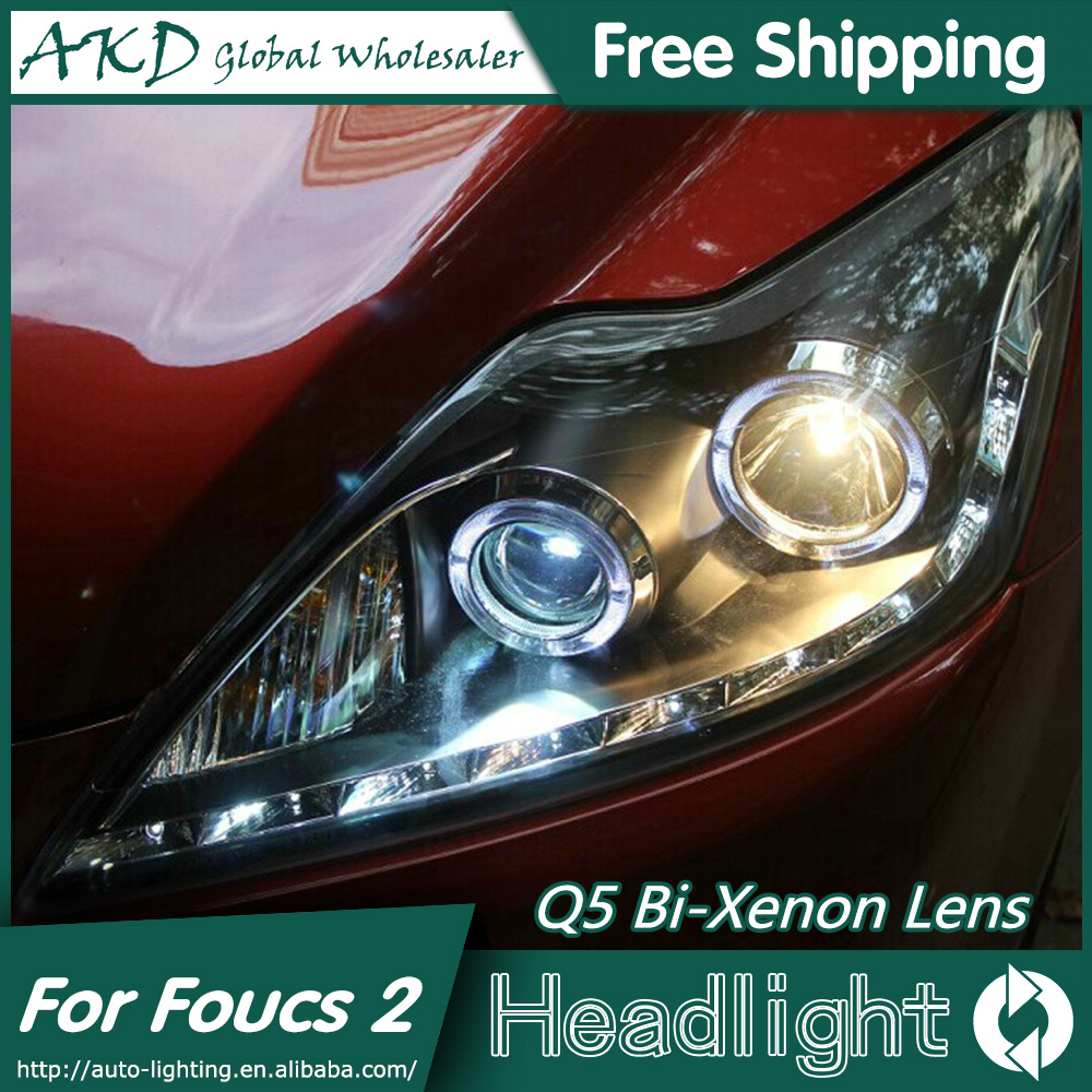 AKD Car Styling for Ford Focus Headlights 2009-2011 Classic LED Headlight LED DRL Bi Xenon Lens High Low Beam Parking Fog Lamp car styling led head lamp for ford focus2 headlights 2009 2012 focus led headlight turn signal drl h7 hid bi xenon lens low beam