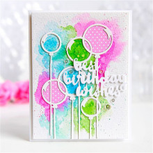 DiyArts Dies Cutting Balloons 2pcs Best Wishes Birthday Metal Crafts DIY Scrapbooking Photo Album Embossing Decorative Gift