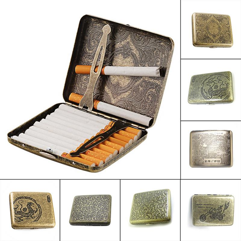 2018 Personality Creative Vintage Metal Smoking Cigarette Case Fashion Men Cigar Tobacco Holder Pocket Box Container Gift Box