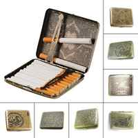 2018 Personality Creative Vintage Metal Smoking Cigarette Case Fashion Men Cigar Tobacco Holder Pocket Box Container Gift Box