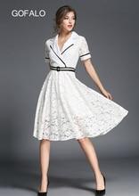 GOFALO Newest Autumn 2017 Lace Hollow Dress Women Elegant Western style Top clothing Design Fall Fashion