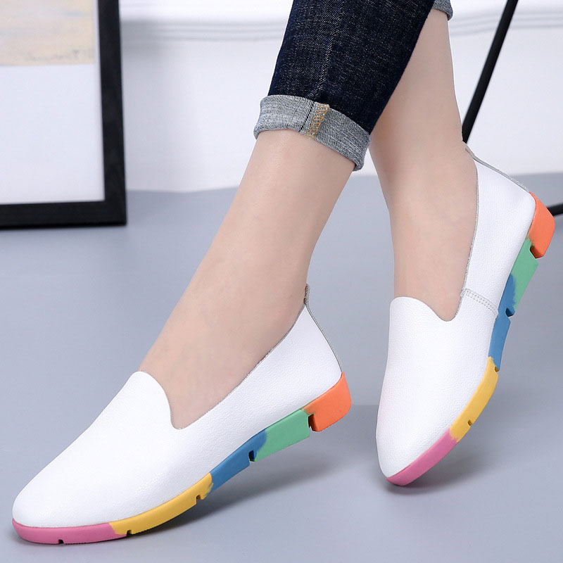 Women Flats Shoes Colored Sole Female Shoes Woman Loafers Cow Genuine Leather Shoes Ladies Slip On Nurse Peas Women Sneakers