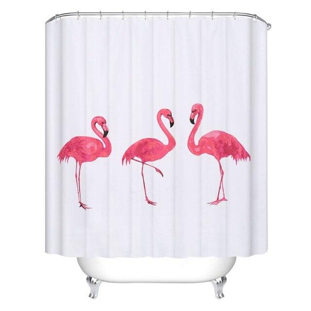New Creative European Style Pink Flamingo Shower Curtains Waterproof ...