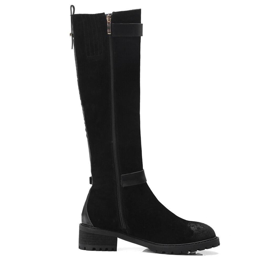 De Mujer Up Rodilla Tacones Alta Suede Negro Vaca Without Botas 2018 Cuero Gruesos Zip With Zapatos Karinluna black Fur Black Fur Moda Riding CpqY86x