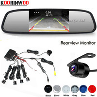 Koorinwoo Parktronic Dual Core Car Parking Sensor 4 Probe Reverse Backup Radars Rear View Camera 4.3 Mirror Monitor Car detector