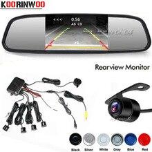 Koorinwoo parktronik çift çekirdekli araba park sensörü 4 prob ters yedekleme radarlar arka görüş kamerası 4.3 ayna monitör araba dedektörü
