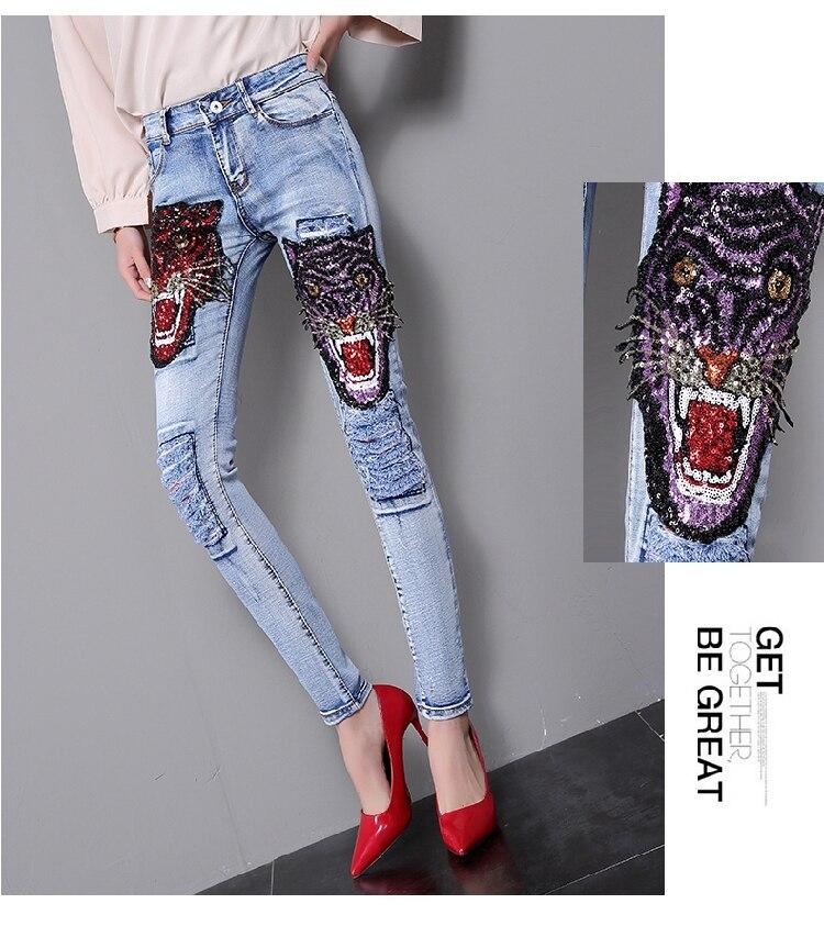 Tiger Denim Paillettes Floreale Nuovo Arriva Pantaloni Lady Squisito 2019 Jeans Studenti Casuale Bling Dei Strada Gusto Fori Di Torta wfBpFIq