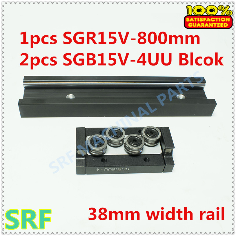 High quality 38mm width Rectangle wheel Linear Rail set:1pcs SGR15V L=800mm Rail with 2pcs SGB15V-4UU four wheel slide block