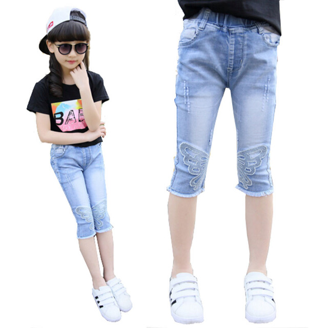 7633048fb345 Girls pants Calf-length Jeans Youth girls kids trousers embroidery jeans  denim casual pants children