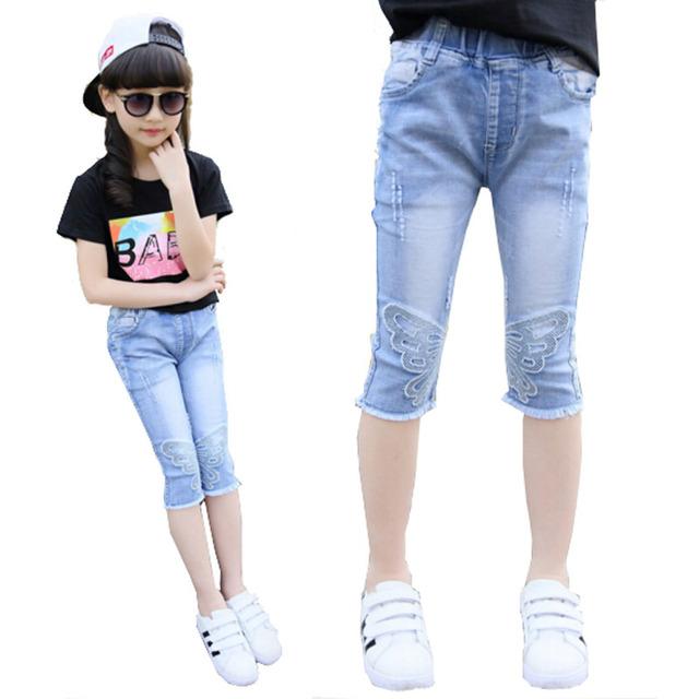 Meninas calças perna de comprimento Jeans jovens meninas miúdos calças de Jeans bordados denim calça casual crianças calças outwear frete grátis