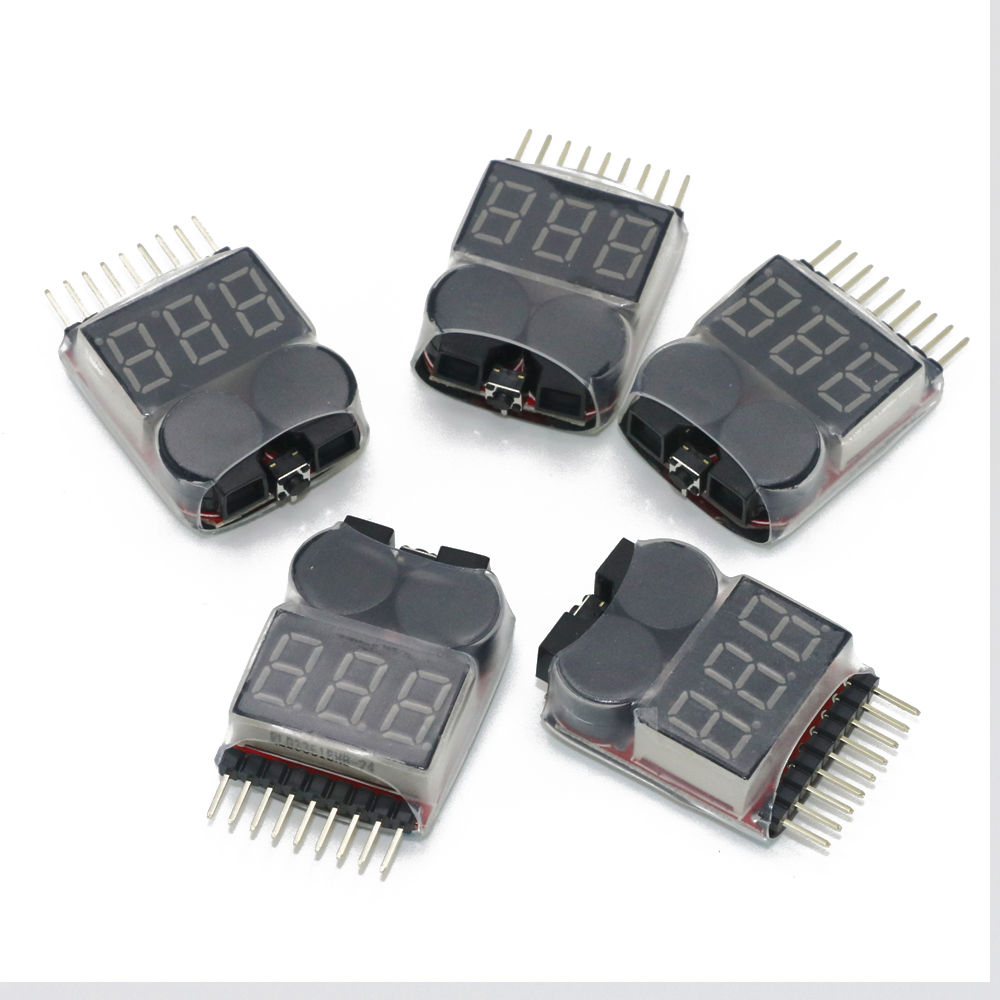 5pcs/lot Lipo Battery Voltage Tester volt meter monitor buzzer Alarm 1-8s3.7V-22.2V rc model 2s 3s 4s detect lipo battery low voltage alarm buzzer
