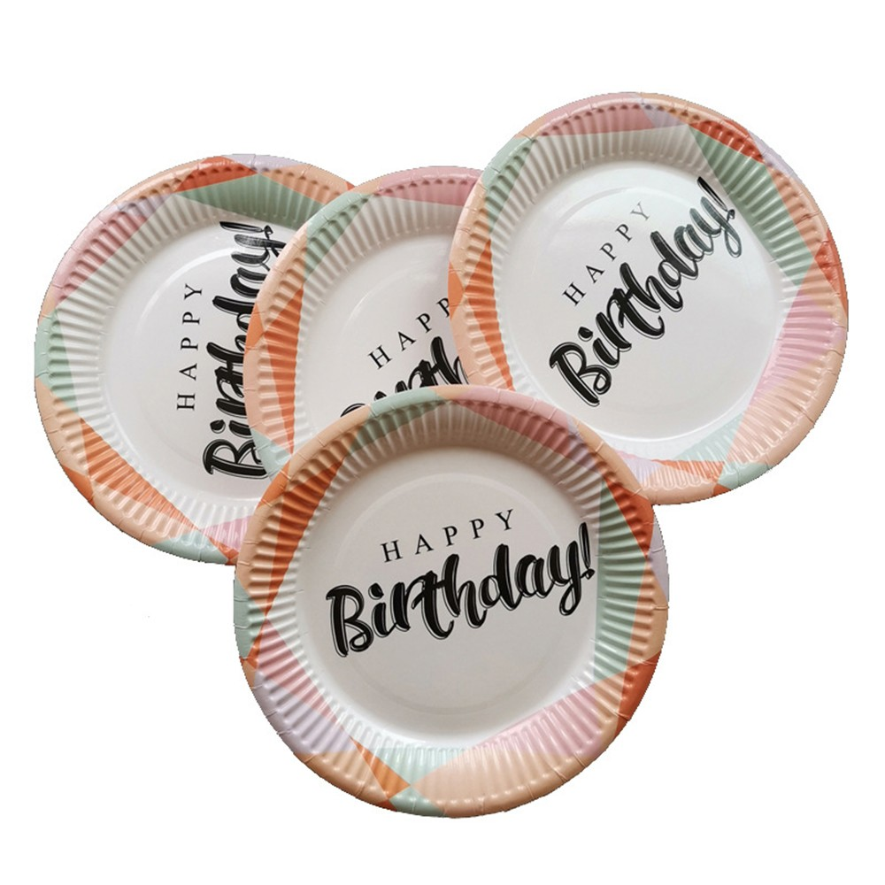 10pcs lot Disposable Plates for Birthday Party Chidlren 39 s Party Decoration Paper Tableware Letter Printed party suppliers in Disposable Party Tableware from Home amp Garden