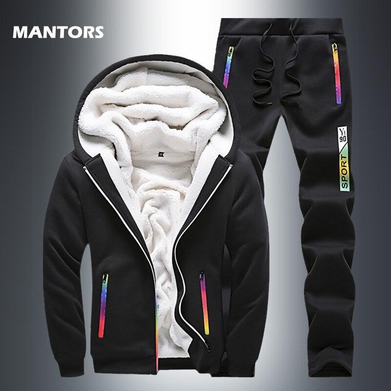 2019 Thick Fleece Tracksuit Winter Men's Hooded Sets Velvet Jacket+Pants Casual Men Sweatsuit 2 Pieces Set Slim Fit Hoodie Suits