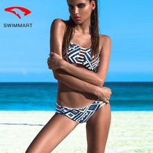SWIMMART bikini Brazilian blue and white porcelain striped ethnic print strap double-sided bikini swimwear women bandeau bikini недорого