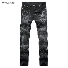 MORUANCLE Fashion Mens Skull Printed Jeans Pants Black Stretch Denim Joggers Male Slim Fit Painted Jean Trousers Plus Size 28-40