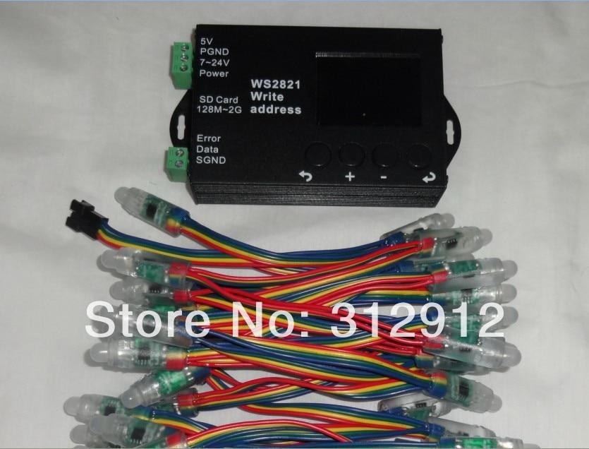 50pcs DC5V 12mm WS2821A DMX512 LED pixel node+WS2821 DMX address writer