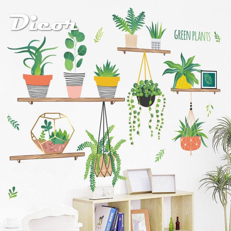 DICOR DIY Adesivos de Parede Planta Em Vaso Para Decoração de Cozinha Decoração de Casa Decalque Removível Adesivo de parede Cartaz QT791