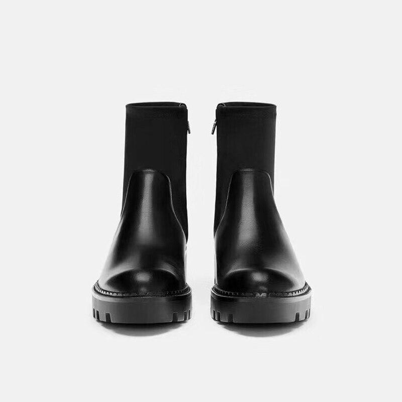 Femmes mollet D'hiver Bottes Microfibre Chaussures Mi forme Stretch En Plate Tissu Caoutchouc Patchwork Dames vNwm8n0O