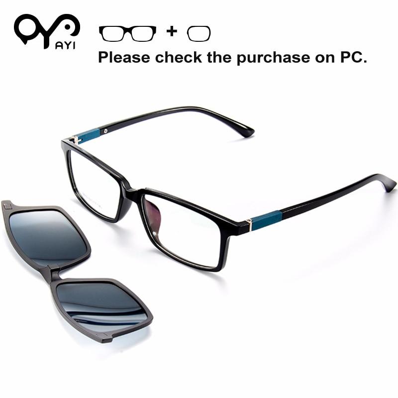 AYI Alloy Glasses Frame Sunglasses Prescription Sun Glasses for Myopia Men Clip on Polarized Women Square
