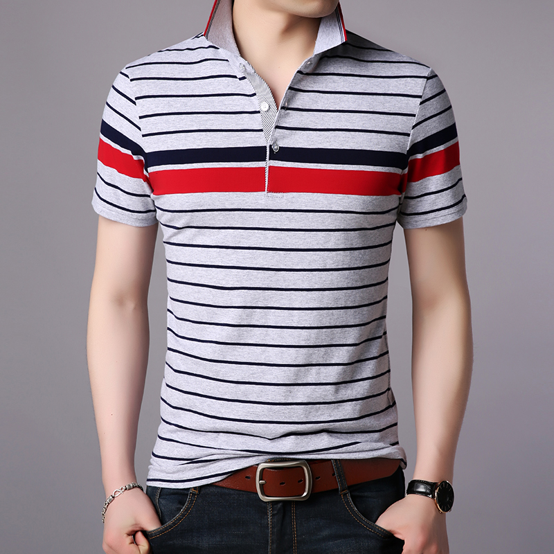 2019 Latest Design 2019 New Fashion Brand Clothes Polo Shirts Men Striped Top Grade Summer Slim Fit Short Sleeve Cotton Boys Casual Men Clothes
