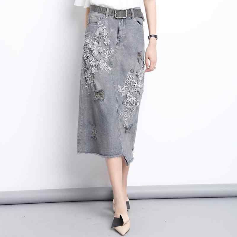 5dd363b26 Summer Fall Women High Waisted Beading Appliques Tassel Denim Skirt , Female  Woman Irregular Embroidery Ripped
