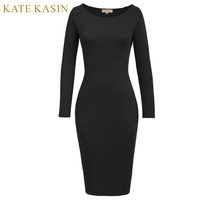 Kate Kasin Woman Autumn New Long Sleeve Scoop Neck Hips Wrapped Vestidos Office Ladies Cotton Knitting