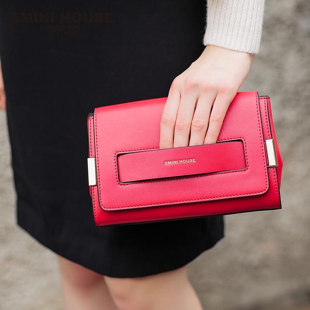 EMINI HOUSE Split Leather Flap Bag New Design Women Messenger Bags Casual Clutches Women Shoulder Bags Fashion Crossbody Bag