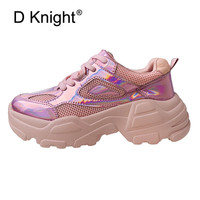 Women's Flat Platform Sneaker Casual Shoes Laser Shiny Breathable Lady Sports Shoes 2019 New Spring Summer Creeper Harajuku Shoe