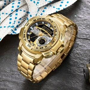Image 2 - Relogio Masculino 2019 Gouden Horloge Mannen Luxe Merk Golden Militaire Mannelijke Horloge Waterdicht Rvs Digitale Horloge 2019
