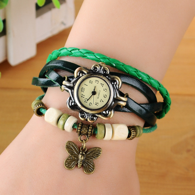 2019 Fashion Women Watches Korean Style Vintage Wooden Beads Butterfly Watch Leather Ropes relogio feminino Ladies Watch Women 1