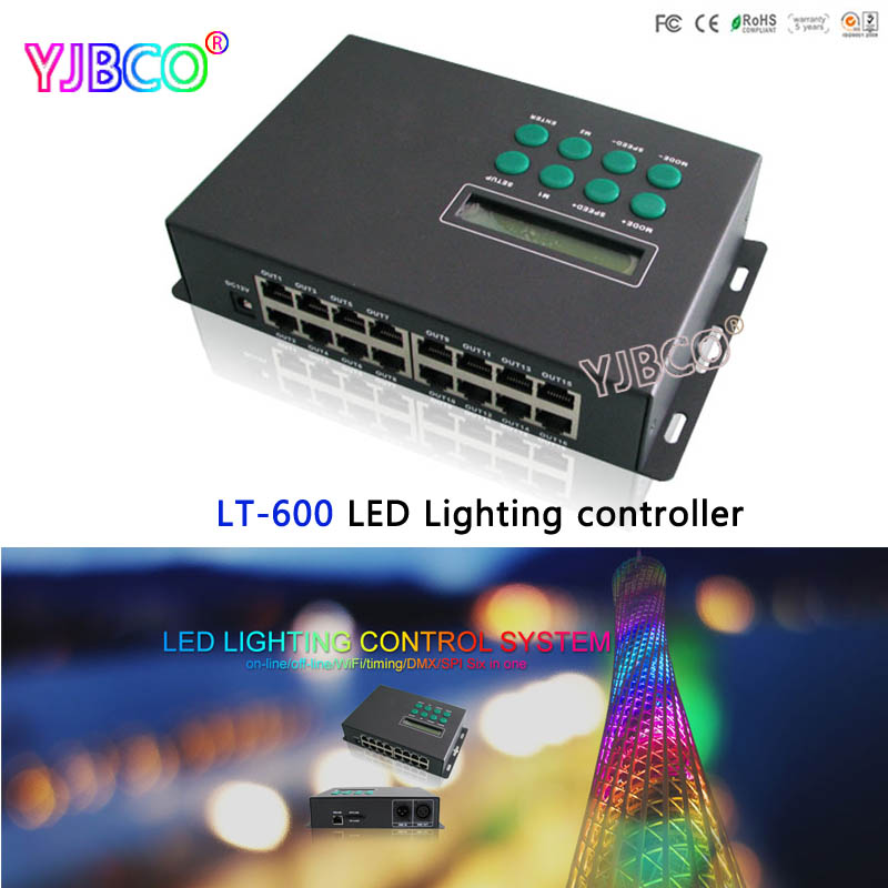 LTECH led controller LT-600 LED Lighting Control System level online/offline/Wifi/DMX/SPI SD card Driving ICs WS2811 LPD6803 etc new wifi dmx controller controlled by android or ios system wifi multi point controller wf310 free shipping