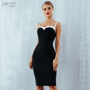 Image 3 - Adyce 2020 Summer Bodycon Bandage Dress Women VestidosSexy Strapless Black&White Midi Runway Celebrity Evening Party  Club Dress