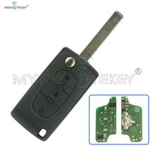 ФОТО Remtekey Flip remote key 3 button car key for Citroen Peugeot key CE0523 middle button light ask 433mhz VA2 PCF7941 chip