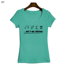 Cotton Short Sleeve Women t-shirts Funny Math Number and Words Printing Girls T Shirts Low Neck Female Sexy Tees Tops Garment