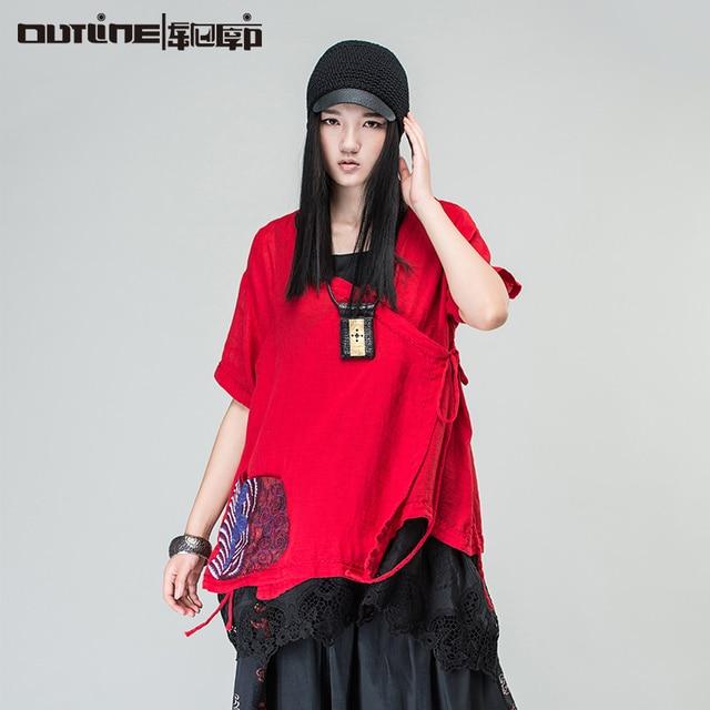 Outline marca nacional fluido tendencia bordado maxi ropa de mujer prendas de vestir exteriores superior de las mujeres irregulares suelta más tapa del tamaño l161y015