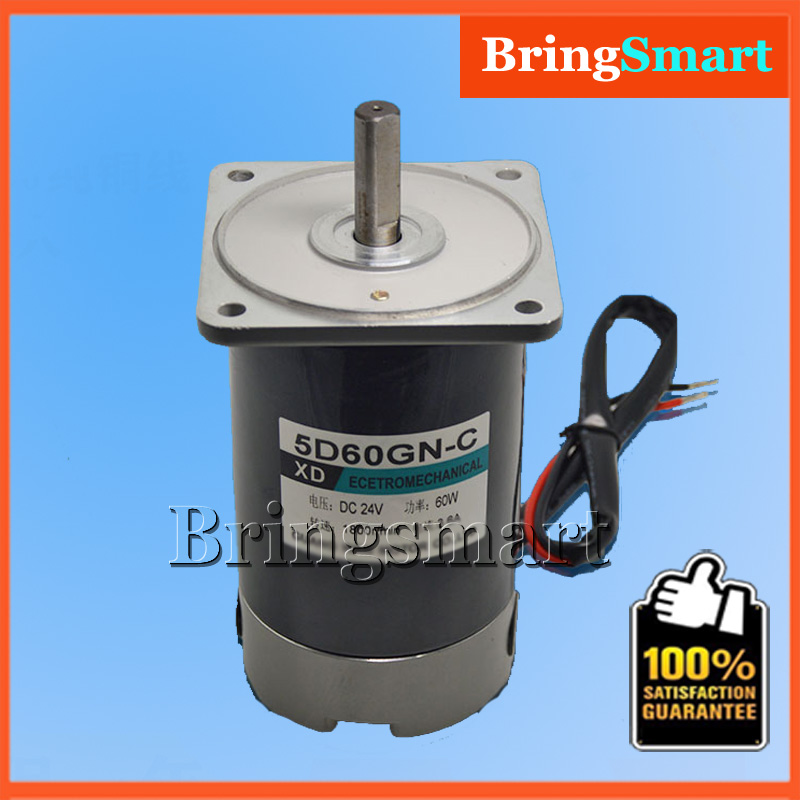 5D60GN C 24 Volt DC Permanent Magnet High Speed Gear Motor 24V 1800rpm Speed Regulation Reversible Electric Reduction Motor 60W