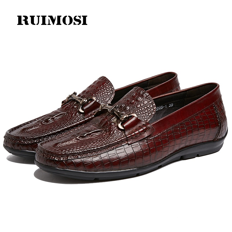 RUIMOSI Flat Heels Man Crocodile Casual Shoes Genuine Leather Comfortable Creepers Loafers Brand Round Toe Men's Footwear RF54