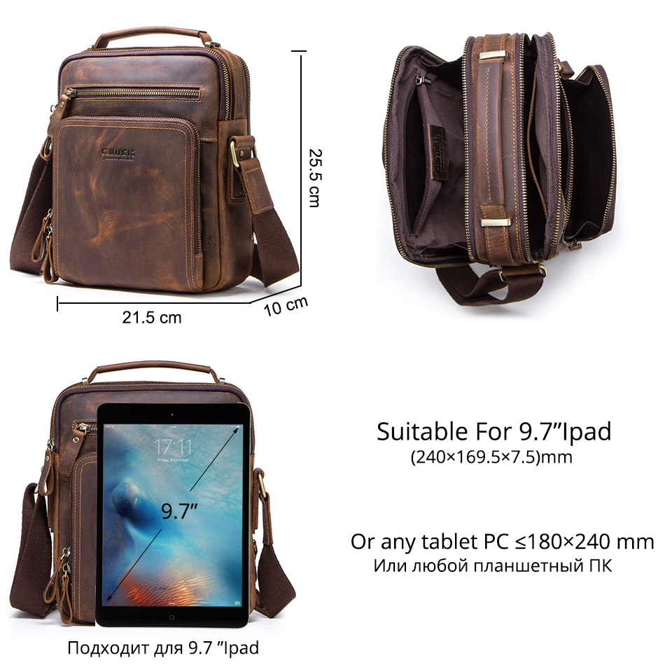 CONTACT'S crazy horse leather men's shoulder bag vintage messenger bags men bolsos male crossbody bags man's handbag sling bag 4