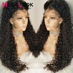 Curly Human Hair Wig Lace Pre Plucked Bleached Knots Wigs Peruvian 30 Inch 13x4 13x6 lace front 180 Remy 360 Lace Frontal Wigs(China)