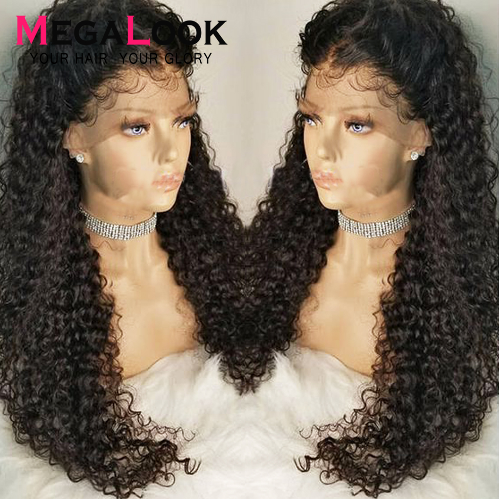 Curly Human Hair Wig Lace Pre Plucked Bleached Knots Wigs Peruvian Glueless 30 Inch 180Megalook Remy Hair 360 Lace Frontal Wigs