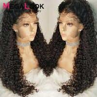 Perruque de cheveux bouclés dentelle pré-plumée noeuds blanchis perruques péruvien sans colle 30 pouces 180Megalook Remy cheveux 360 dentelle frontale perruques