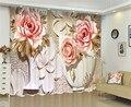 Роскошные затемняющие шторы для дверей в китайском стиле  3D занавески на окна  занавески для гостиной  свадьбы  шторы с цветами  наволочка по...